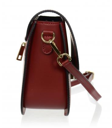 Červená kožená jednoduchá crossbody kabelka KM056red - GROSSO
