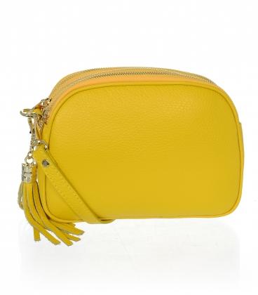 Žlutá kožená crossbody kabelka se střapcem KM062yellow - GROSSO