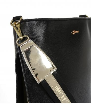 Černá crossbody kabelka se zlatými detaily 20M006blkgold