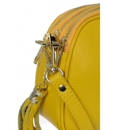 Žltá kožená crossbody kabelka so strapcom KM062yellow - GROSSO