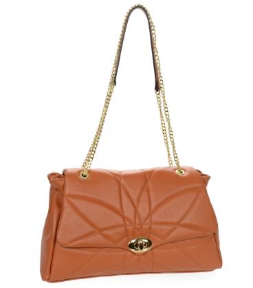 Prešívaná oranžová kožená kabelka so vzorom a retiazkou KM058orange - GROSSO