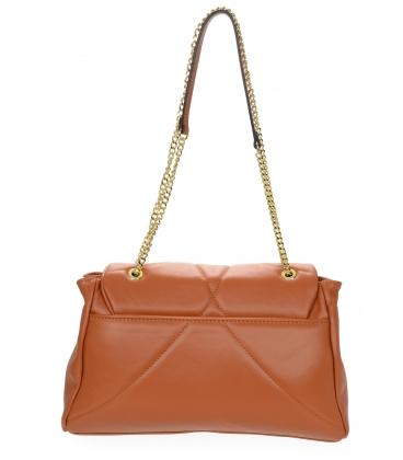 Prošívaná oranžová kožená kabelka se vzorem a řetízkem KM058orange - GROSSO