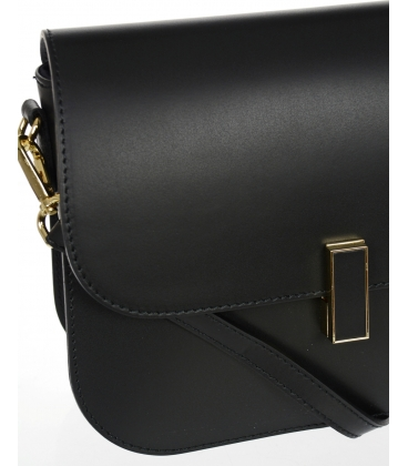 Černá kožená jednoduchá crossbody kabelka KM056black - GROSSO