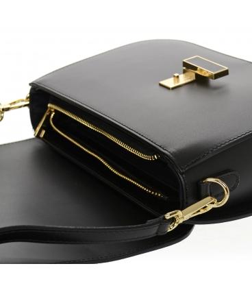 Čierna kožená jednoduchá crossbody kabelka KM056black - GROSSO