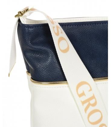 Bílo- modrá crossbody kabelka s popruhem C21SMwhtblue - Grosso