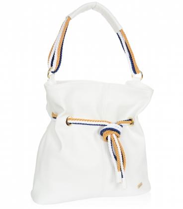 Biela kabelka s bielo-modro-žltým previazaním V18SM050whtblue - GROSSO