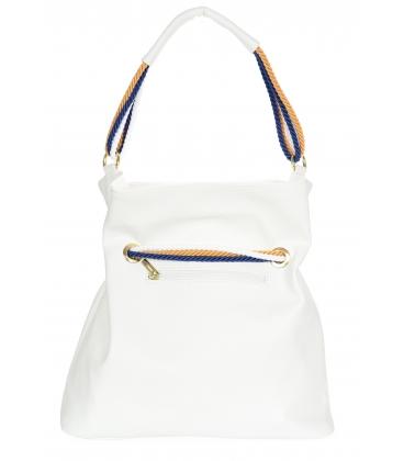 Bílá kabelka s bílo-modro-žlutým provázáním V18SM050whtblue - GROSSO