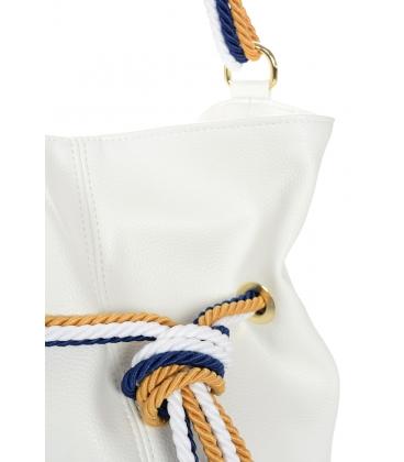 Fehér kézitáska fehér-kék-sárga kötéssel V18SM050whtblue - GROSSO