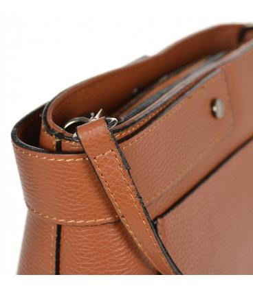 Hnědá kožená jednoduchá crossbody kabelka KM059brown - GROSSO