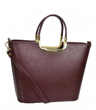 Bordó elegantní vyztužená kabelka V21SM002bordo - GROSSO