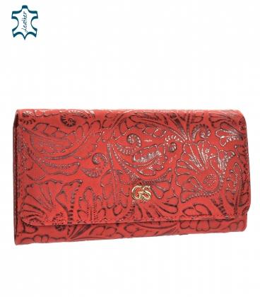 Női matt vörös lakkozott pénztárca fényes GROSSO virágmintával