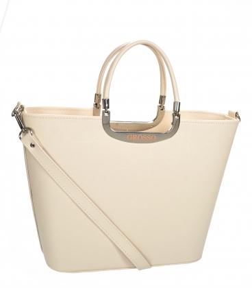 Béžová elegantní vyztužená kabelka V21SM002beige - GROSSO