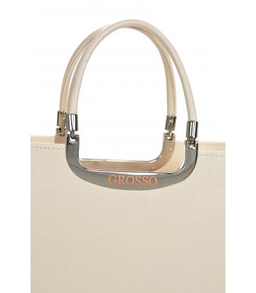 Béžová elegantná vystužená kabelka V21SM002beige - GROSSO