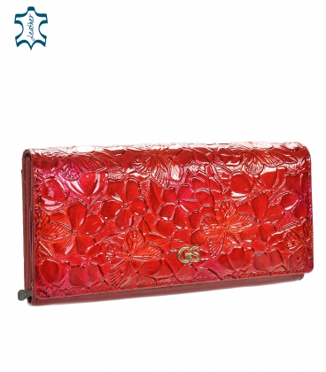 Női lakkozott piros pénztárca fényes GROSSO virágmintával