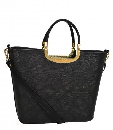 Černá elegantní vyztužená kabelka V21SM002black - GROSSO