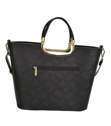 Čierna elegantná vystužená kabelka V21SM002black - GROSSO