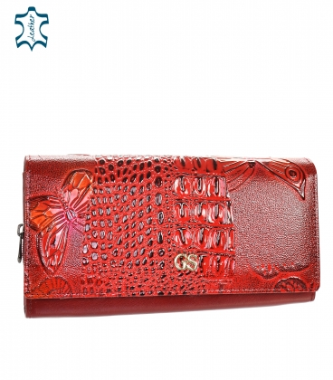 Women's lacquered red-black wallet with a shiny GROSSO floral pattern