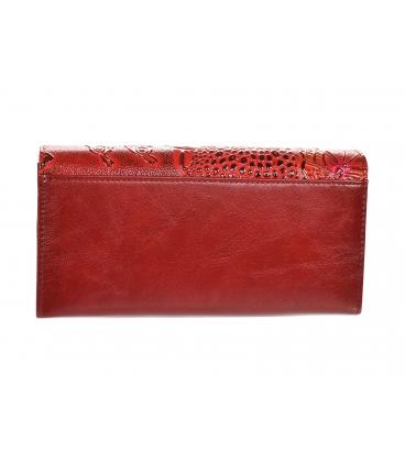 Női lakkozott piros-fekete pénztárca, fényes GROSSO virágmintával