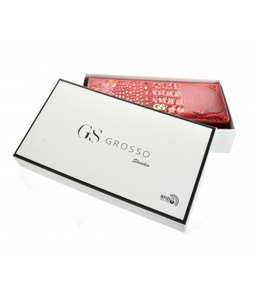 Dámska lakovaná červeno čierna peňaženka s lesklým kvetinovým vzorom GROSSO