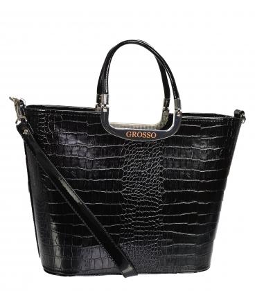 Černá elegantní vyztužená kabelka s kroko vzorem V21SM002blckkroko - GROSSO