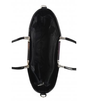 Čierna elegantná vystužená kabelka s kroko vzorom V21SM002blckkroko - GROSSO