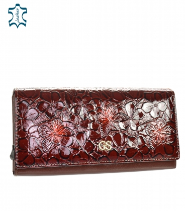 Women's lacquered burgundy wallet with a black GROSSO floral pattern