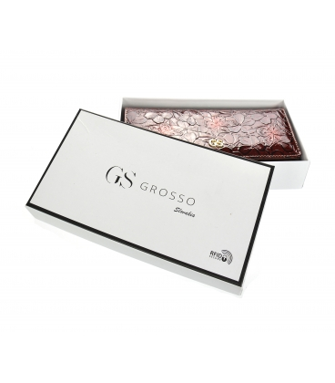 Női lakkozott bordó pénztárca fekete GROSSO virágmintával