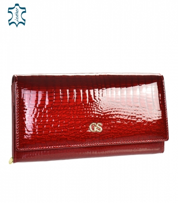 Women's red lacquered wallet with GROSSO pattern