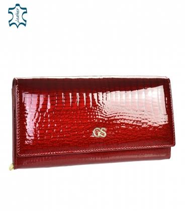 Női piros lakkozott tárca GROSSO mintával