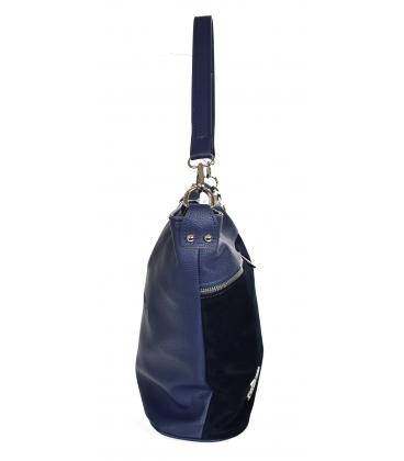 Tmavomodrá kabelka so zipsami a príveskom 21V0004blue GROSSO