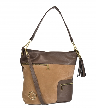 Brown bag with zippers and pendant 21V0004brown GROSSO