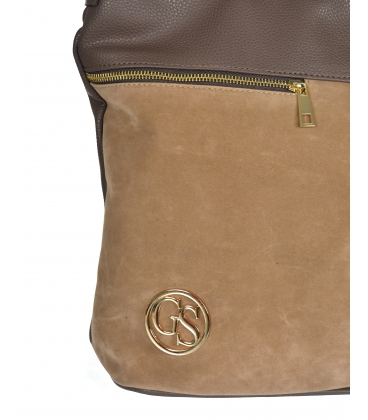 Hnedá kabelka so zipsami a príveskom 21V0004brown GROSSO