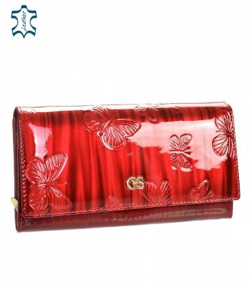 Női piros lakkozott pénztárca GROSSO pillangó motívummal