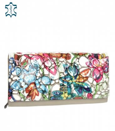 Női lakkozott színes pénztárca fényes GROSSO virágmintával