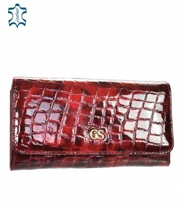 Női bordó fekete lakkozott pénztárca GROSSO mintával