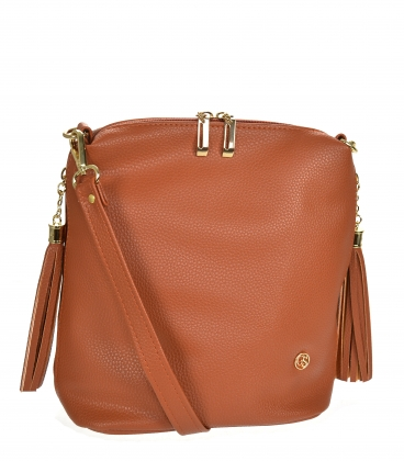 Brown crossbody handbag with tassels 20M006brown GROSSO