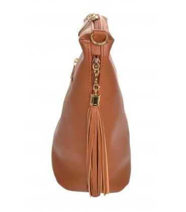 Hnedá crossbody kabelka so strapcami 20M006brown GROSSO