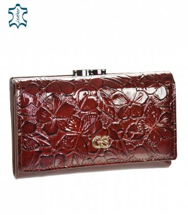 Női lakkozott bordó barna pénztárca, fekete GROSSO virágmintával