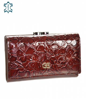 Women's lacquered burgundy brown wallet with a black GROSSO floral pattern