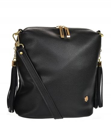 Black crossbody handbag with tassels 20M006black GROSSO