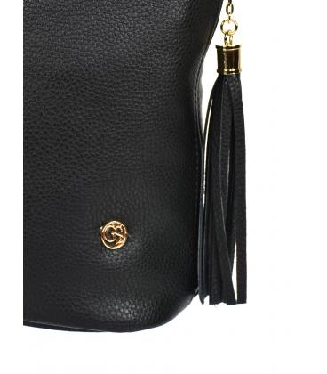 Čierna crossbody kabelka so strapcami 20M006black GROSSO