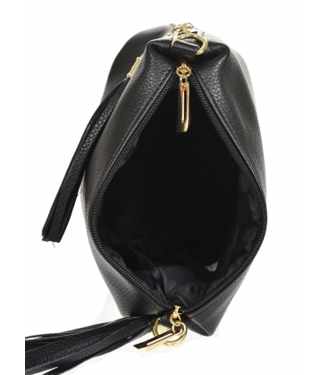 Black crossbody kabelka s třásněmi 20M006black GROSSO
