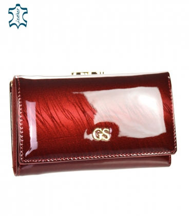 Women's red lacquered wallet with a strip pattern GROSSO