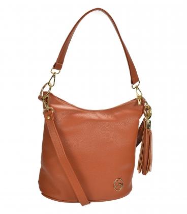 Brown crossbody handbag with tassel 20M006browntassel GROSSO
