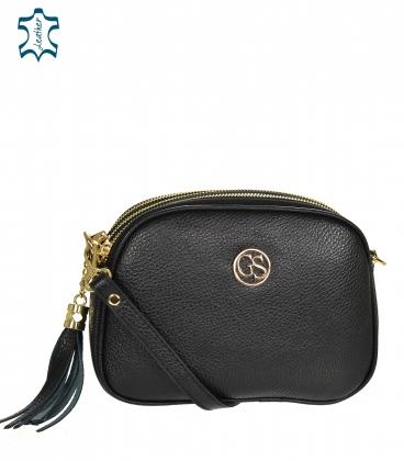 Čierna kožená crossbody kabelka so strapcom GROSSO