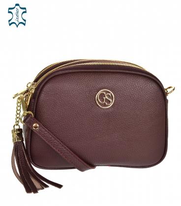 Bordoleather crossbody handbag with tassel GS102 Bordo GROSSO
