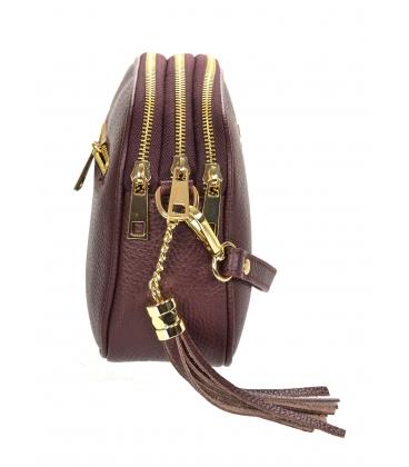 Bordová kožená crossbody kabelka so strapcom GS102 Bordo GROSSO