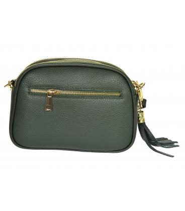 Zelená kožená crossbody kabelka so strapcom GS103 Green GROSSO