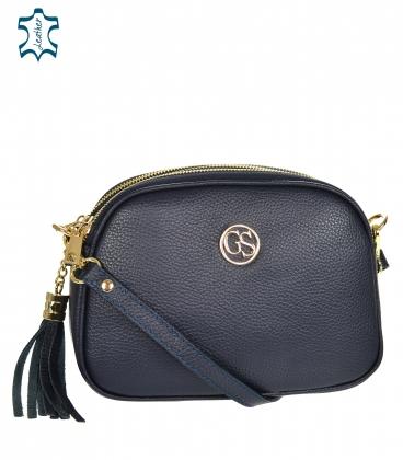 Blue leather crossbody handbag with tassel GS104 Blue GROSSO