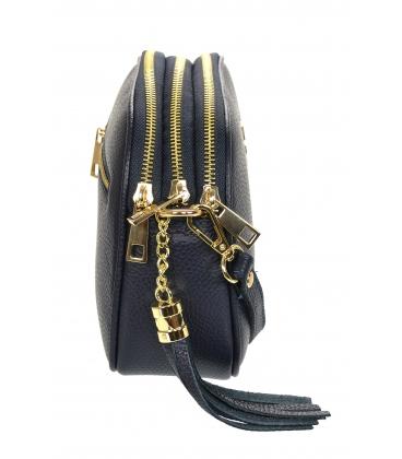 Modra kožená crossbody kabelka se střapcem GS104 Blue GROSSO